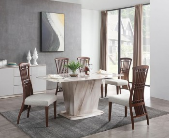 Montrose Cream Marble Dining Set