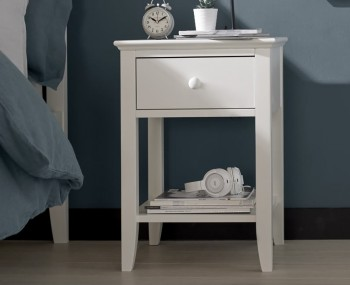 Austin White 1 Drawer Bedside Table