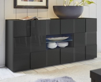 Dama 2 Door 2 Drawer Grey High Gloss Sideboard