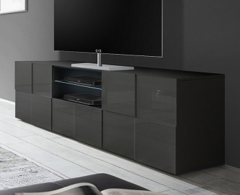 Dama 2 Door 1 Drawer Grey High Gloss TV Unit