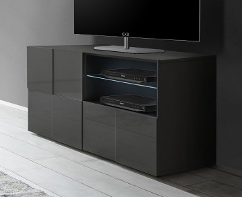 Dama 1 Door 1 Drawer Grey High Gloss TV Unit