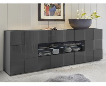 Dama 2 Door 4 Drawer Grey High Gloss Sideboard
