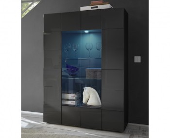 Dama Grey High Gloss Glass Cabinet