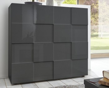 Dama 2 Door Grey High Gloss Storage Unit