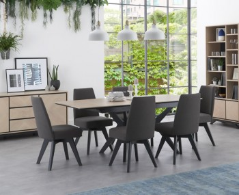 Bridget Oak & Gunmetal Extending Dining Set