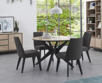 Bridget Oak & Gunmetal Round Dining Set