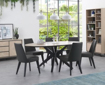 Bridget Oak & Gunmetal Oval Dining Set