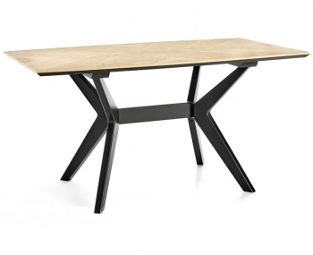 Bridget Oak & Gunmetal Rectangular Dining Table