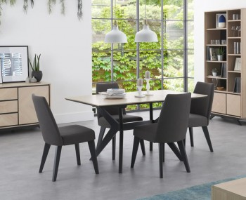 Bridget Oak & Gunmetal Rectangular Dining Set