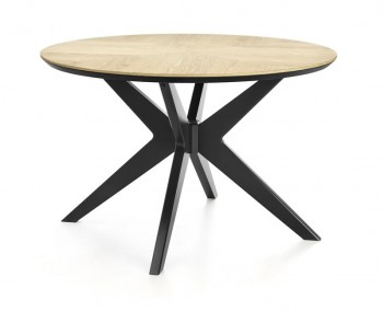 Bridget Oak & Gunmetal Round Dining Table