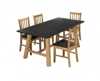 Brookin Black and Oak Dining Set