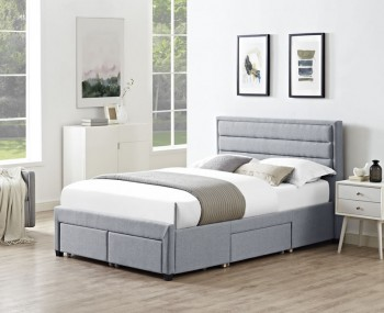 Gireen Grey Fabric Multi Drawer Storage Bed