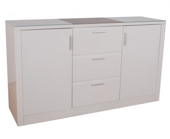 Glendale White High Gloss & Stone Effect 2 Door 3 Drawer Sideboard