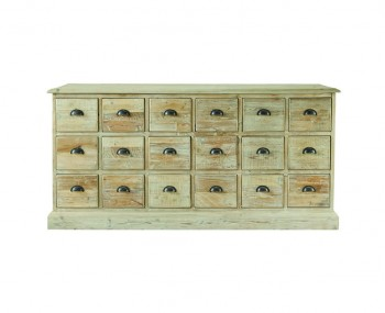 Grand 18 Drawer Distressed Natural Wooden Sideboard