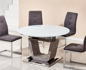 Glendale White High Gloss & Stone Effect Round Dining Table ONLY