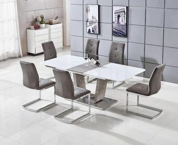 Glendale White High Gloss & Stone Effect Dining Set