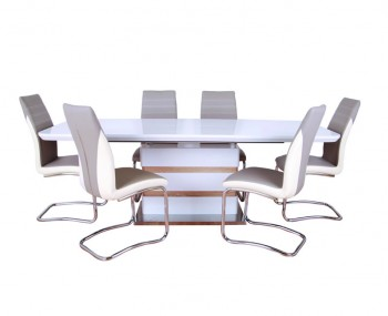 Zuri White High Gloss Extending Dining Set