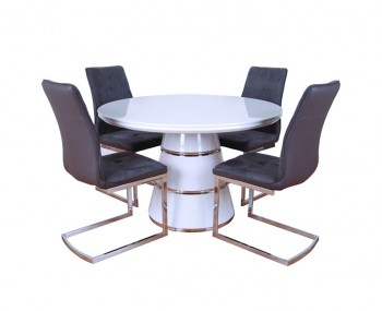 Zuri White High Gloss Round Dining Set