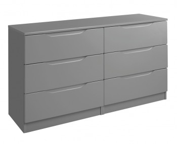 Sabron 6 Drawer Dust Grey High Gloss Chest