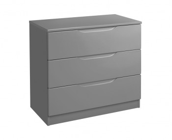 Sabron 3 Drawer Dust Grey High Gloss Chest
