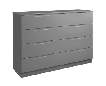 Sabron 8 Drawer Dust Grey High Gloss Chest