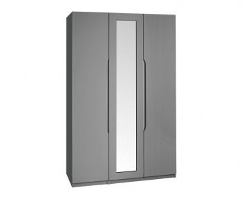 Sabron 3 Door Tall Dust Grey High Gloss Wardrobe