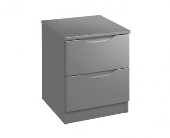 Sabron 2 Drawer Dust Grey High Gloss Bedside Chest