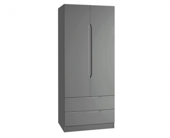 Sabron 2 Door 2 Drawer Dust Grey High Gloss Wardrobe