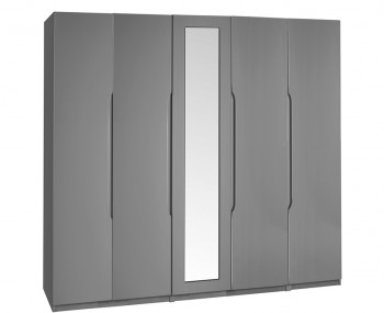 Sabron 5 Door Tall Dust Grey High Gloss Wardrobe
