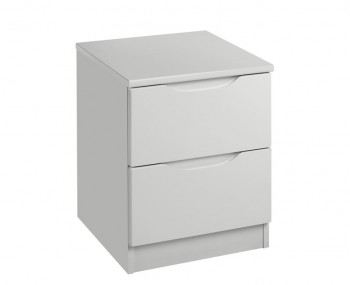 Warren Light Grey 2 Drawer High Gloss Bedside Chest