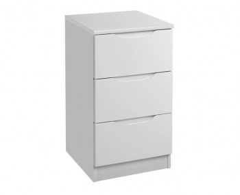 Warren Light Grey 3 Drawer High Gloss Bedside Chest