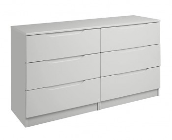 Warren Light Grey 6 Drawer High Gloss Chest