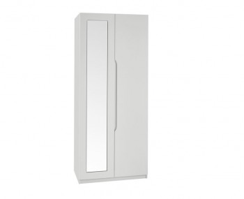 Warren Light Grey 2 Door Mirrored High Gloss Wardrobe