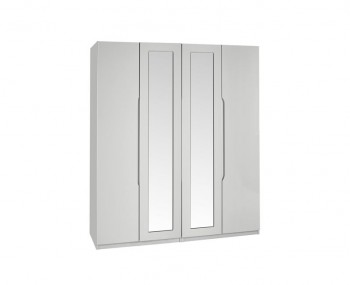 Warren Light Grey 4 Door Tall Mirrored High Gloss Wardrobe