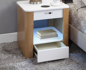 San Francisco Two-Tone Smart Bedside Table With Bulit-In Night Light