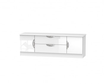 Halifax White High Gloss Wide 2 Door 2 Drawer TV Cabinet