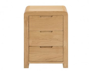 Curve Oak 3 Drawer Bedside Chest