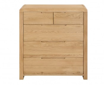 Curve Oak 3+2 Drawer Chest