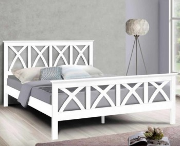 Mellington White Wooden Bed