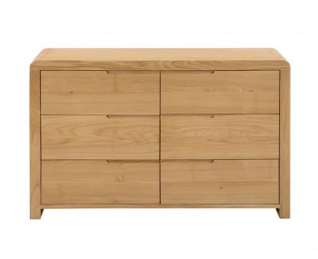 Curve Oak Wide 6 Drawer Chest