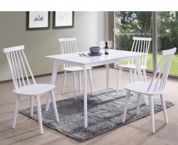 Riata Rectangular White Wooden Dining Table and Chairs