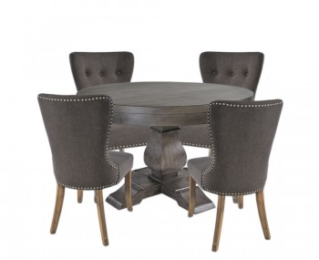 Edie Round Dark Wooden Dining Set