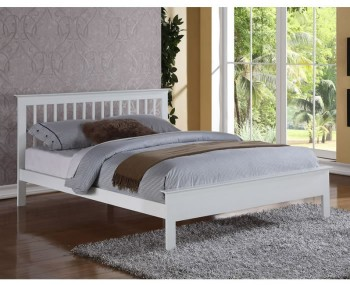 Peyton White Hardwood Bed Frame