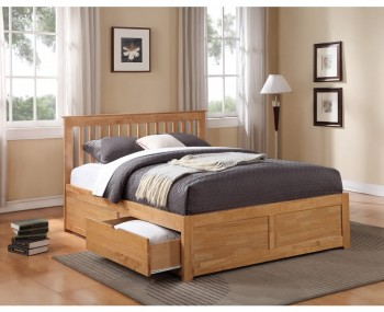 Peyton Oak Bed Frame With Drawers