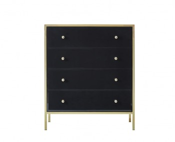 Fenwick Gold and Black Glass 4 Drawer Chest