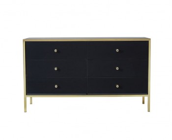 Fenwick Gold and Black Glass 6 Drawer Wide Chest
