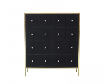 Fenwick Gold and Black Glass 12 Drawer Chest