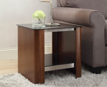 Melbourne Walnut and Glass Top Lamp Table
