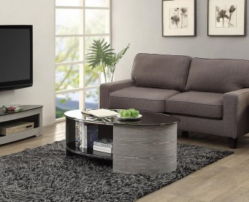 Zennor Oval Grey and Glass Coffee Table