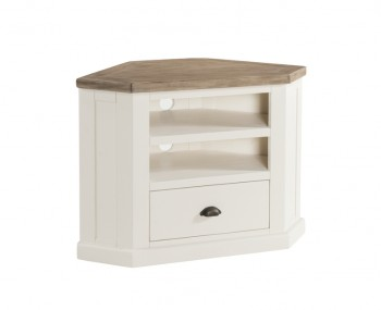 Santorini Solid Pine Hand Painted 1 Drawer Corner TV Unit